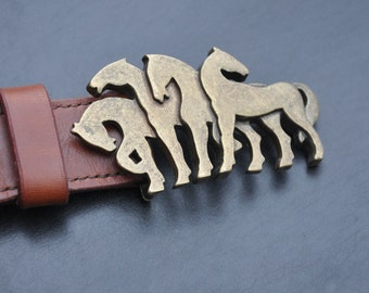 Brown Leather belt with horse buckle