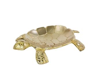 Vintage Brass Turtle Figurine-Turtle Dish-Turtle Trinket Dish-MidCentury Brass Turtle-Turtle-Brass-Brass Decor-Collectible-Hollywood Regency