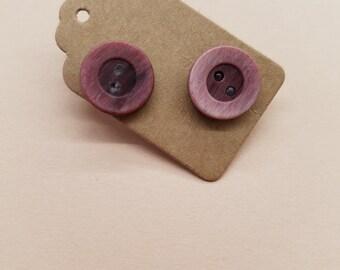 Handmade Button Earrings, Dark Red 30