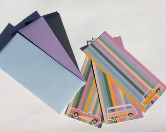 Retro style notes in matching envelopes with labels and envelope seals.