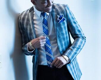 Me's Fashion Blue Plaid Necktie