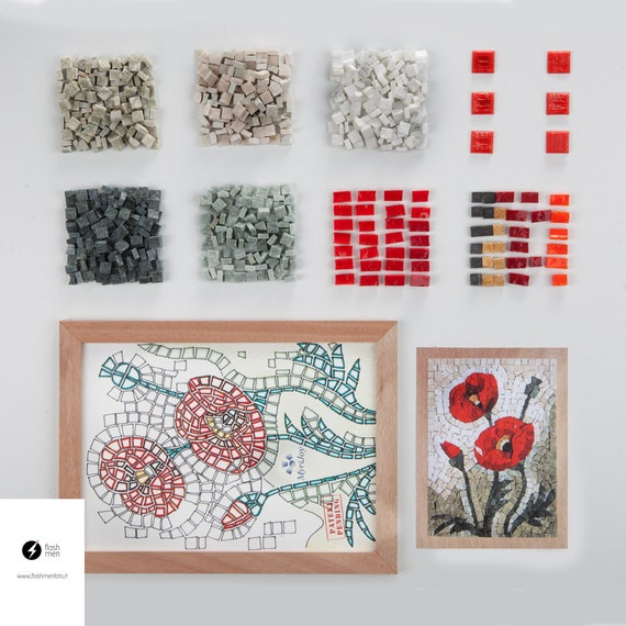 Mosaic kit diy poppies stained glass mosaic tiles for Craft kit for adults