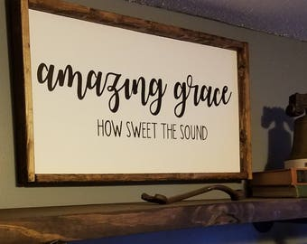 Amazing Grace Wood Sign 13 X 25 inches
