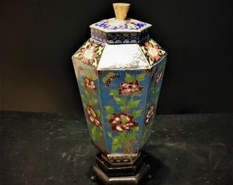 Vintage 1960s Chinese Brass Cloisonne Enamel Ginger Jar / Urn with Stand
