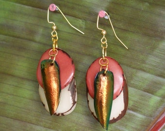 Tagua Dangle Drop Earrings – Jewel Beetle Wing Earrings – Sustainable White and Pink Earrings – All Natural Vegetable Ivory – Bug Earrings