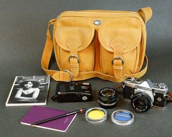 Italian suede leather Vintage Camera Bag