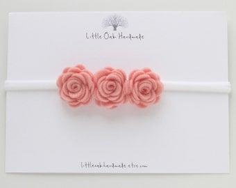 Crown Felt Flower Headband - Rose - Baby Headband - Flower Headband - Nylon Headband