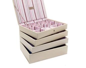 Stackers Set of 4 Cream Stripe Medium Stacker Jewellery Trays LC4SETCREAMSTRIPE