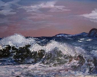 Seascape Painting.Romantic Gift.Oil.Вечерний океан.Maritime.Evening ocean.Artist Dmitry Buianov.Oil on Canvas.Handmade.SALE!Free Shipping!