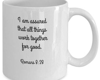 """Inspirational Christian """"I am assured"""" coffee mug"""