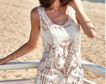 2017 Beach Collection - Gorgeous White Lace Beach Coverup Dress