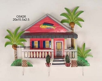 Caribbean House, Metal Wall Art , with Hooks OS426