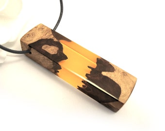 Resin Wood Pendant Necklace.  60mm x 16mm x 11mm  Mallee burl rustic pagan hippy boho enchanted charm leather