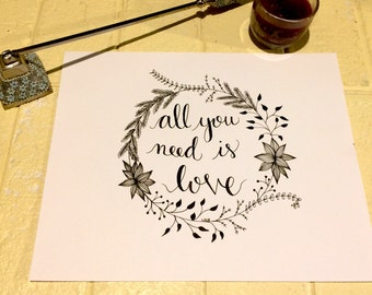 All You Need Is Love, The Beatles,  Hand drawn home decor, valentine's day, anniversary