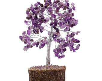 Harmonize Amethyst Stone Tree, Reiki Healing Energy Crystal, Wirework Wooden Tree, Table Décor With Gift Pouch HCD2531C
