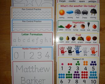 Pre School formation & Poster Bundle, tracing shapes, tracing letters, tracing numbers, name tracing, formation mats, EYFS, colours