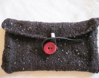 Clutch Midnight Blue knit + felt bag wool Lurex red coconut button
