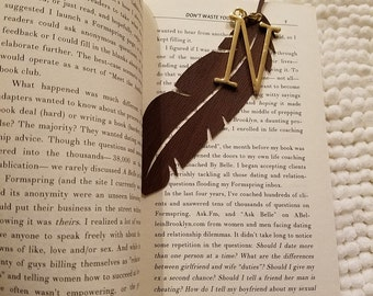 Handmade Personalized Feather Bookmark, Faux Leather Bookmark Stationary