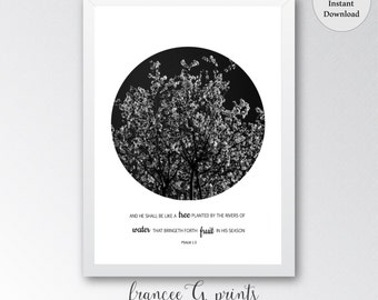Tree Art Printable Minimalist Wall Art Nature Art Bible Quote Art Psalm 1:3 Printable Woodland Wall Art Black and White Art Inspirational