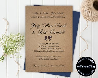 Rustic Wedding Invitation Template, Instant Download Printable Invitation Set, Kraft Invitation Template, Kraft Wedding Invitation Template