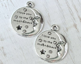 Moon charms, set of 2, I love you to the moon and back, moon and stars, silber moon charms, moon coin, moon and stars, message moon, pendant