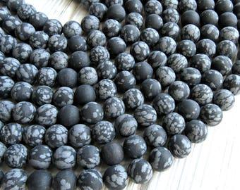 Matte Snowflake Obsidian, 6mm beads, full strand, Frostedblack obsidian, obsidian 6mm, obsidian strand, 6mm obsidian, snowflake beads