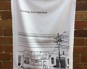 Lustre-Glo Garage - organic cotton teatowel/Sydenham/Sydney/Australia