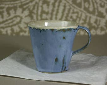 Large blue ceramic mug, big tea mug, coffee cup, pottery, mug
