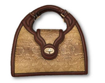 Vintage 70's Leather & Snakeskin Handbag