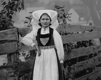 Norwegian Portrait of a Young Girl in Ethnic Dress, Historical Photo Print, Black & White Photography,  Fjord, Hardangerfjord, Norway