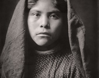 Native American Indian Girl Portrait Photography, Pima School Girl, Indigenous Pima American Girl, Sepia Photograph, 1907