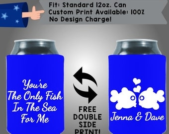 You're the Only Fish in the Sea for Me Names Collapsible Fabric Wedding Cooler Double Side Print (W185)