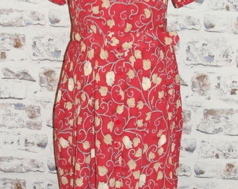 Size 14 Petite vintage 80s M and S button gather belted maxi dress red floral (GX12)