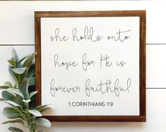 Forever Faithful Wood Sign | Gallery Wall | Fixer Upper Style | Farmhouse | Encouragement | Scripture | Biblical