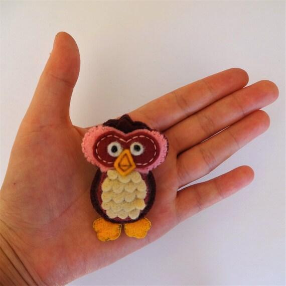 Blackcurrant Purple Owl Brooch