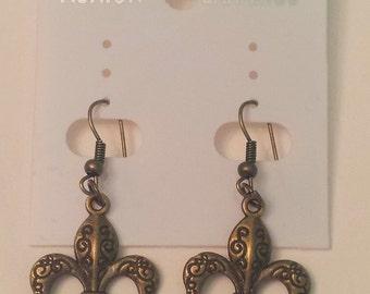 Antique Bronze Fleur De Lys Earrings