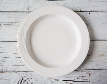 Large Heavy Weight White Ceramic Plate Serving Plate-Food Photography Props