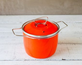 Orange Enamel Cast Iron Pot Small Dutch Oven with Lid-Food Photography Props