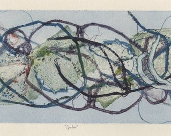 """KATHERINE BADEN STEWART (American, 1930-1993), """"Cycles"""", 1965, monoprint, pencil signed."""