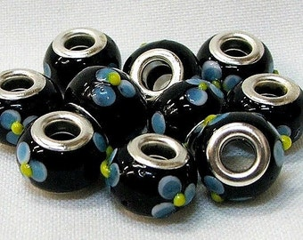 Large Hole Beads in Black with Bule Flowers