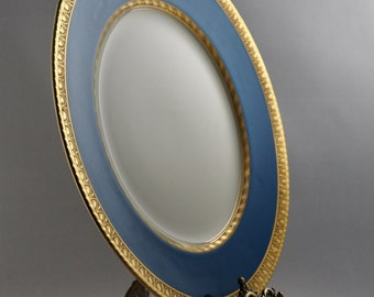 Booths Silicon China Ceylon Ivory Blue and White Plate With Gold Gild Vintage