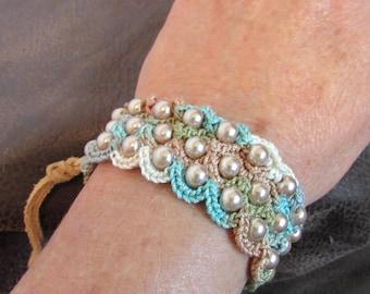 Cream Beaded Crochet  Bracelet with Vintage Button Closure