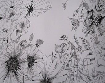 flowers in winter! drawing handmade illustration, graphic design, decoration