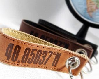 Key pendant coordinates leather