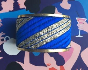 """Oblique"" Golden Cuff Bracelet - ""Royal Blue, gold"""