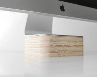 Simple iMac Computer Stand - minimalist wooden monitor riser
