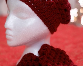 Beautiful Handmade Wine Puff Stitch Slouch Hat with matching Fingerless Gloves