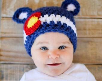 The Colorado Bear / Colorado Flag Hat/ CO Baby Bear Hat / Baby Colorado Beanie Hat