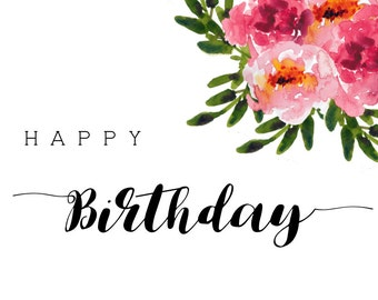 Watercolor Floral Birthday Card