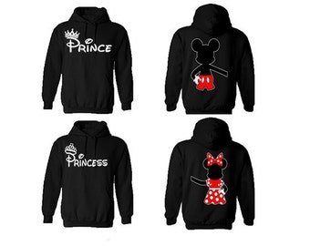 Prince Princess Mickey Minnie Inspired Holding Hands Couple Hoodies, Valentine, Gift, Matching Hoodies, 2 Hoodies ***EXPEDITE SHIPPING***
